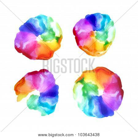 Abstract watercolor vector rainbow gradient background.