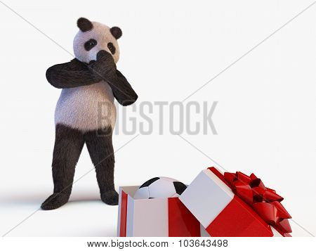 Joyful Cute Protagonist Character Giant Panda Bamboo Stands And Looks At Half-open Box With A Gift I
