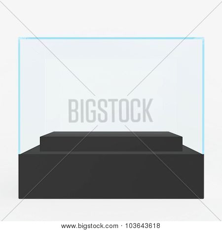 Showcases Glass Museum with a black podium in the center