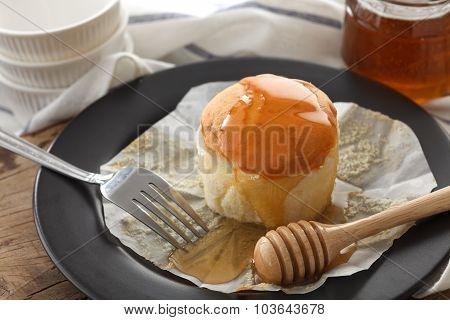 Honey Soft Cheese Cake Sweet Pastries Dessert Still Life Closeup