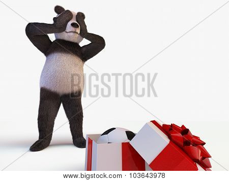 Joyful Cute Protagonist Character Giant Panda Bamboo Stands Behind Semi-open Box With A Gift Inside