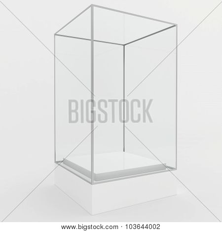 Empty glass showcase for exhibit. gray background