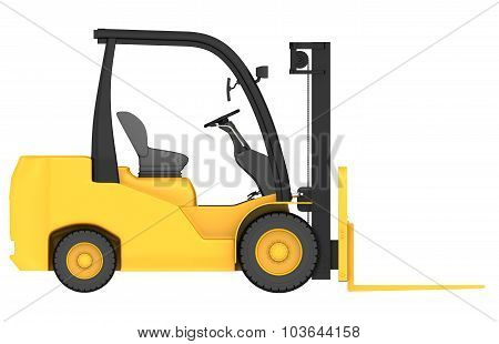 render 3d of forklift truck in front projection