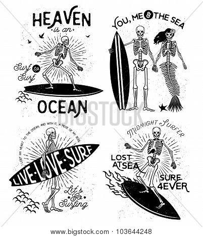 Skeleton Surfer vector art.