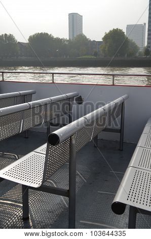 Steel bench seating on boat.
