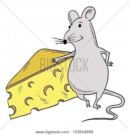 Mouse And Piece Of Cheese