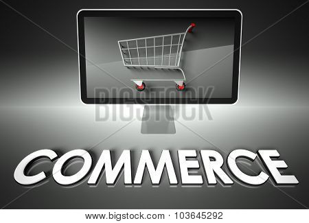 Computer And Shopping Cart With Commerce, E-commerce