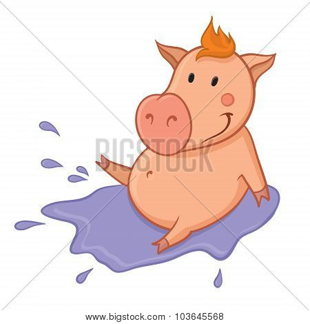 Pig In Puddle