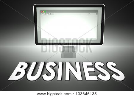 Computer And Web Browser With Business, E-commerce