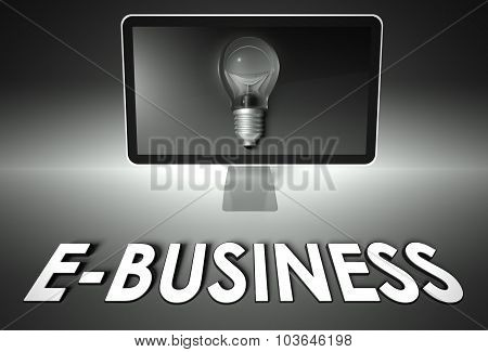 Screen And Light Bulb With E-business, E-commerce
