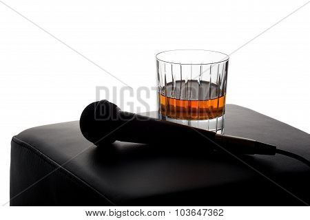 Microphone on an empty stool