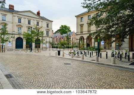 ORLEANS, FRANCE - AUGUST 11, 2015: streets of Orleans. Orleans is a city in north-central France. It is the capital of the Loiret department and of the Centre-Val de Loire region.