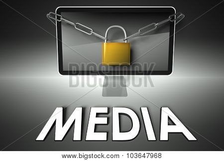 Computer And Padlock With Media, Security