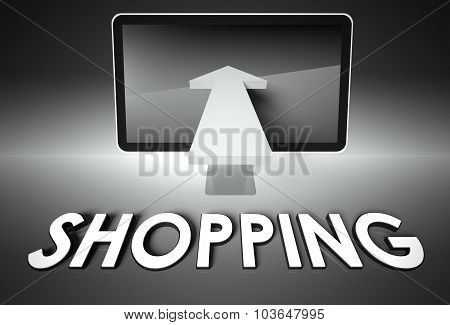 Screen And Arrow With Word Shopping, E-commerce