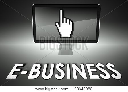 Screen And Hand Icon With E-business, E-commerce