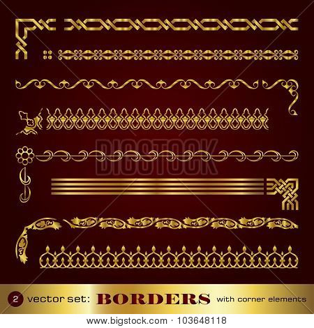 Borders with corner elements in gold - set 2