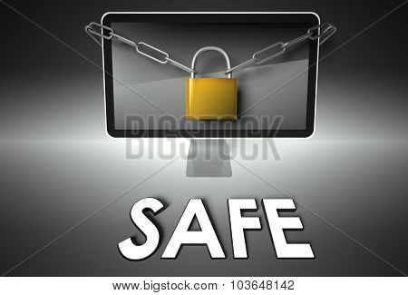 Computer And Padlock With Safe, Security