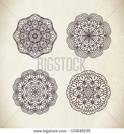 Black line circular pattern set