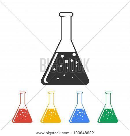 Laboratory Glass  Icon, Vector Illustration. Flat Design Style