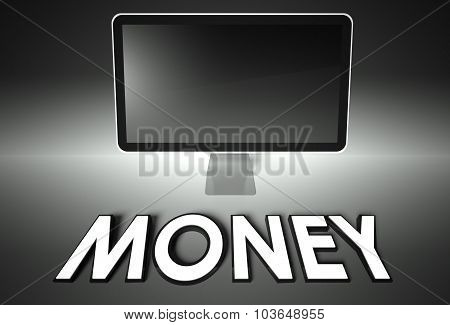 Computer Blank Screen With Word Money