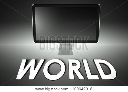 Computer Blank Screen With Word World