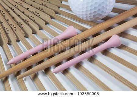 Typical Japanese Hand Fan, Chopsticks And Golf Equipments