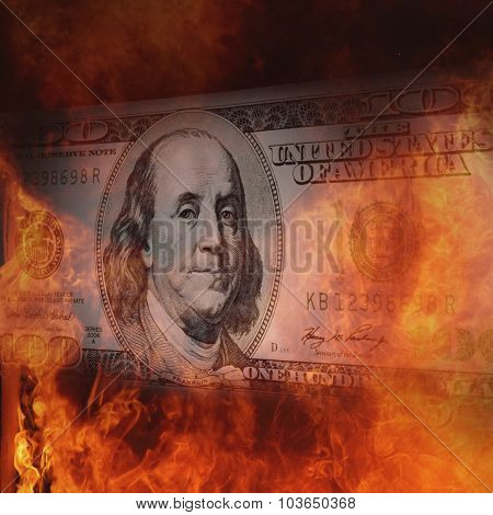 Burning Dollar Bill A Symbol Of World Financial Crisis