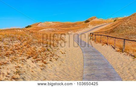 Wooden road in the sand dunes