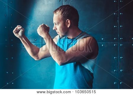 Athlete, Sportsman Muscular Man In A Position Of Readiness, Sport, Wrestling