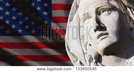Virgin Mary Against The Background Of The Us Flag