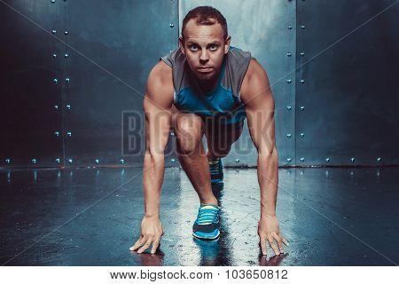 Runner, Sportsman Muscular Man In A Position Of Readiness, Sport, Run