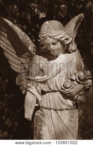 Vintage Image Of A Sad Angel On A Cemetery