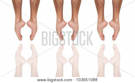 Close up of three ballet dancer's feet jumping
