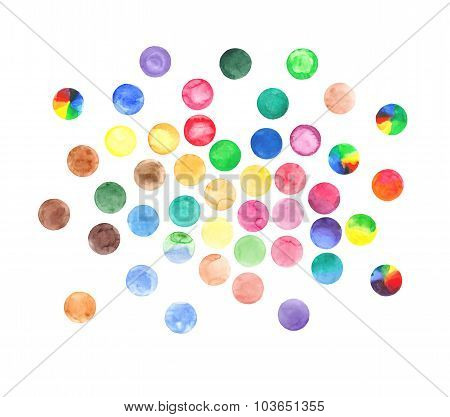 Watercolor vector circles set