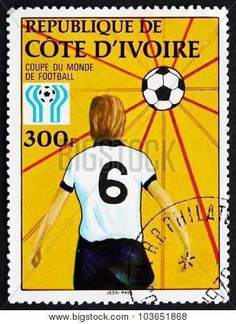 Postage Stamp Ivory Coast 1978 Ball As Sun, And Player