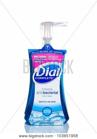 MIAMI, USA - April 21, 2015: 7.5 fluid ounce bottle of Dial complete brand Antibacterial Hand Soap.