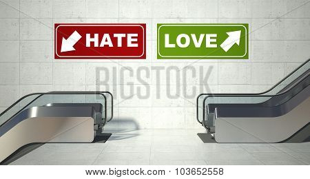 Moving Escalator Stairs, Love Hate Sign