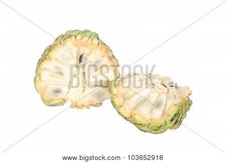 Sliced Custard Apples Isolated On White