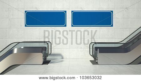 Moving Escalator Stairs And Blank Advertising Billboard