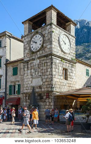 Clock Tower On Plaza Of Oruzja, Old Town, Kotor, Montenegro