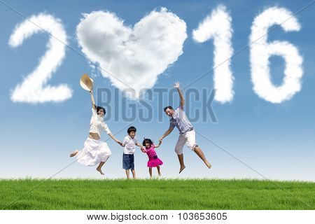 Happy Children And Parents Celebrate New Year