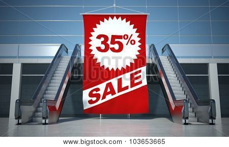 35 Percent Sale Advertising Flag And Escalator