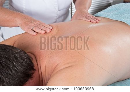 Close-up On The Back Of The Man - Massage
