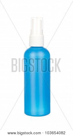 Blue Container Of Spray Bottle Isolated On White