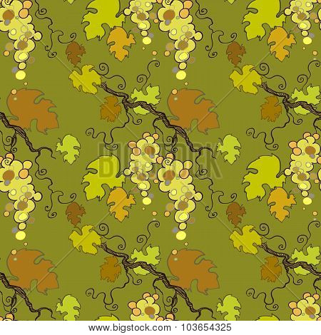 Seamless pattern with white grape