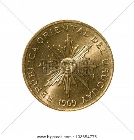 Uruguay Coin One Peso Isolated On White Background. Top View.