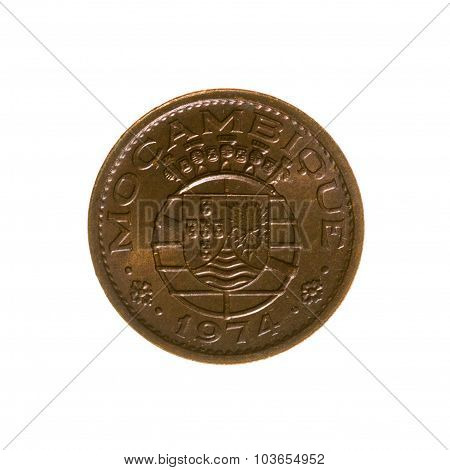 Twenty-centavo Coin Portugal Isolated On A White Background. Top View.