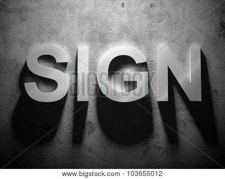 Sign Text With Shadow, Word