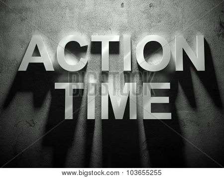 Action Time Text With Shadow, Business Word