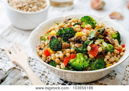 Barley Porridge With Corn, Broccoli, Garlic, Mushrooms And Pepper